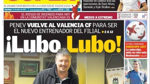 Авторитетният валенсиански вестник Superdeporte изкарва снимка на Любослав Пенев на