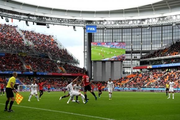 Свободните места на трибуните на стадиона в Екатеринбург на срещата