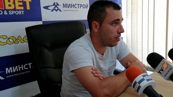 Наставникът на ФК Дунав Цветомир Младенов говори пред медиите преди