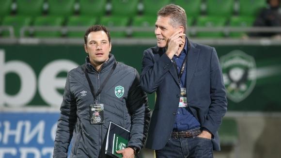 Помощник треньорът на Лудогорец Бруно Пивети говори пред медиите след