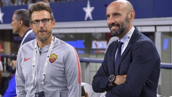 Наставникът на Рома Еузебио Ди Франческо и спортният директор Мончи