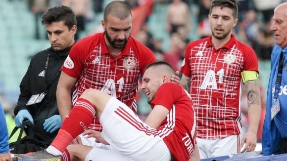 Защитникът на ЦСКА-София Иван Турицов получи много тежка контузия в