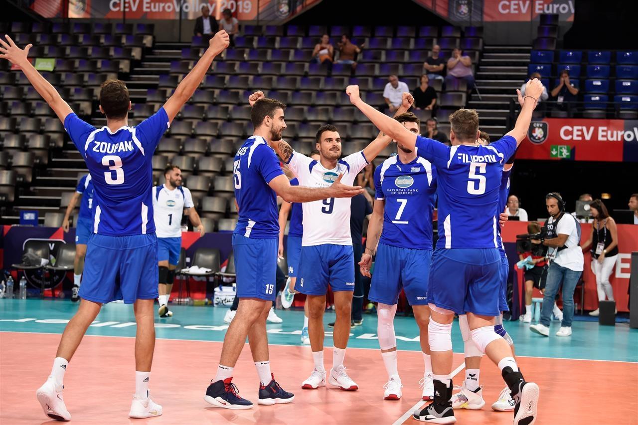 Националният волейболен отбор на Гърция постигна първа победа на Европейското