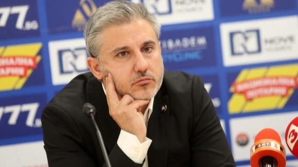 Изпълнителният директор на Левски Павел Колев говори след прожекцията на