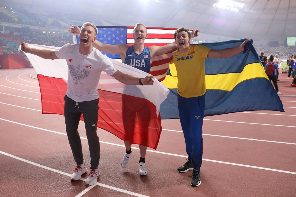Тримата медалисти в овчарския скок при мъжете от Световното първенство