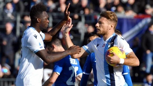 Отборът на Лацио постигна драматична победа с 2:1 като гост