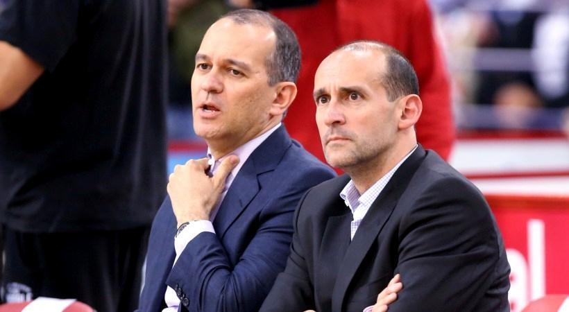 Собствениците на баскетболния Олимпиакос - братята Панайотис и Йоргос Ангелопулос,