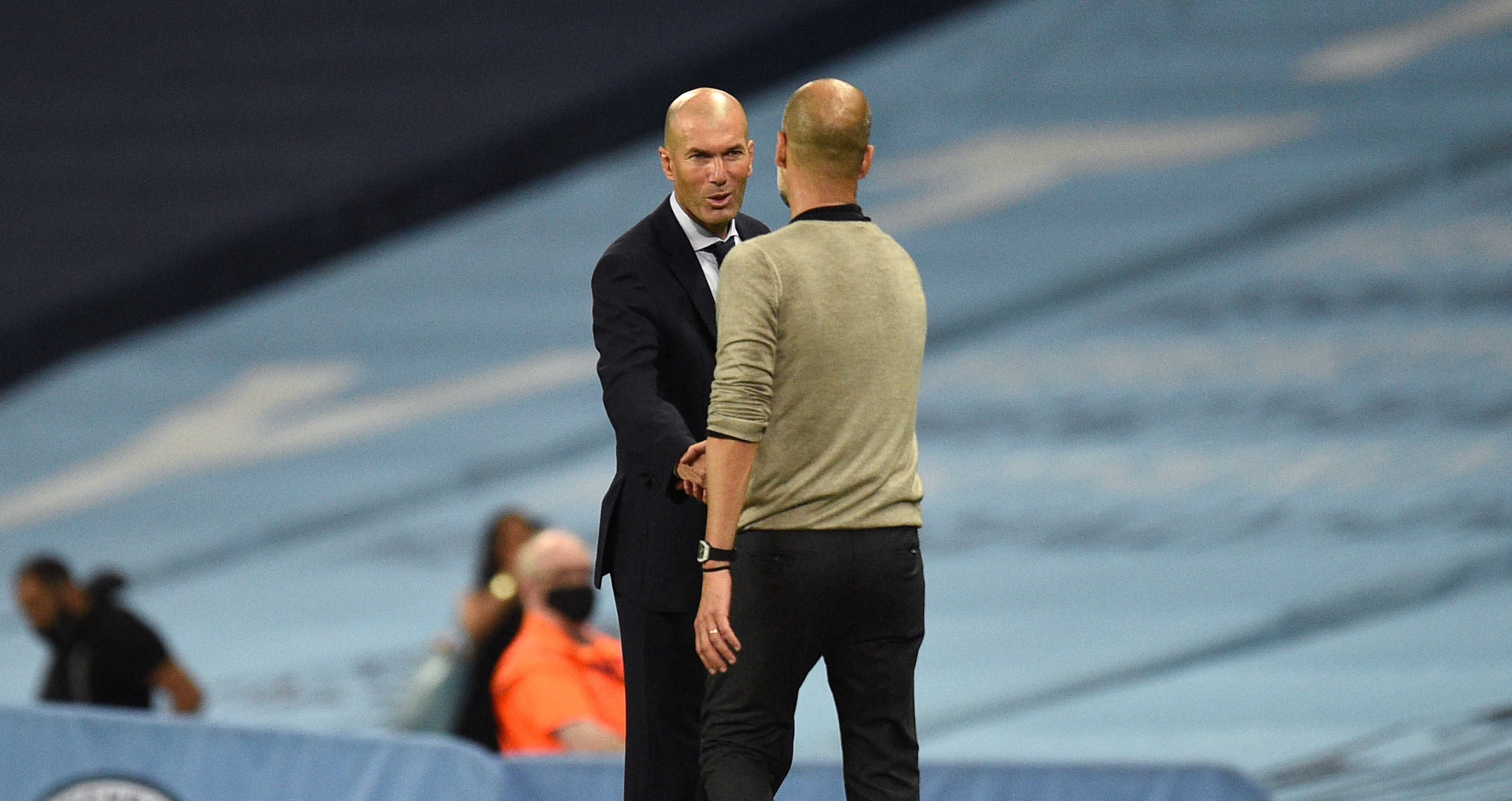 След края на двубоя между Манчестър Сити и Реал Мадрид