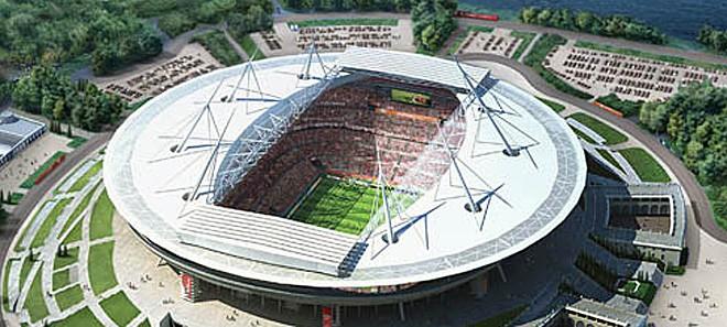 """Стадион """"Санкт Петербург"""": Ще бъде построен с капацитет 62 000 и ще се ползва от Зенит. Ще замени стадион """"Киров""""."""