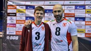 Баща и син заедно в игра! Сергей Тетюхин (41) и синът му Павел Тетюхин (16) играха за Белогорие срещу Зенит