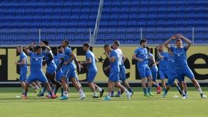 Футболистите на Левски тренират преди двубоя със Сутиеска