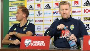 Пресконференция на националният отбор на Швеция преди срещата с България