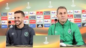 Пресконференция на Димитър Димитров и Лукас Саша преди мача с Милан