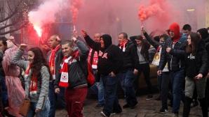 Шествието на феновете на ЦСКА преди дербито