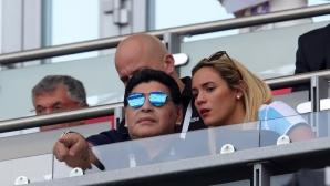Диего Марадона по време на Франция - Аржентина