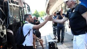 """Отборът на Славия бе посрещнат от фенове на стадион """"Telia 5G Arena"""""""