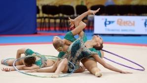 Съчетанието с пет обръча на българският ансамбъл на СП по худ. гимнастика