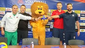 Силвано Пранди и треньорите на САЩ Сърбия и Иран в Пловдив