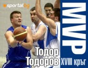 Тодор Тодоров - MVP на XVIII кръг на НБЛ