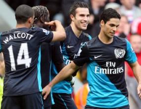 """Ван Перси попари """"Анфийлд"""", Арсенал обърна немощен пред гола Ливърпул (видео)"""