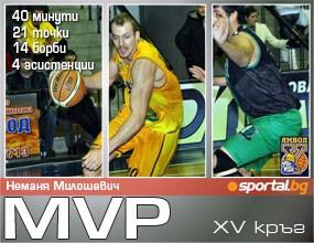 Неманя Милошевич - MVP на XV кръг на Булсатком НБЛ