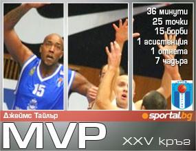 Джеймс Тайлър - MVP на XXV кръг на Булсатком НБЛ