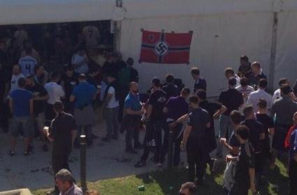 Нацистко знаме във фензоната на Реал Мадрид (снимка)