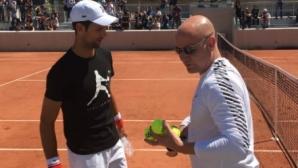 Първата тренировка на Джокович с Агаси в Париж (видео)
