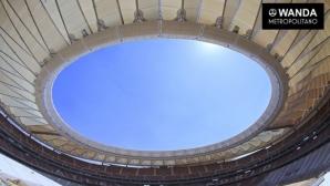 Стадионът на Атлетико вече е покрит (снимки)