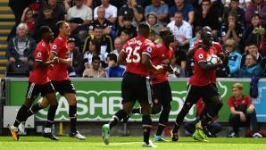 Юнайтед вкара осем гола за първите си два мача в Премиър лийг, Суонзи рухна за четири минути (видео)