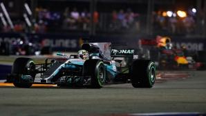 Изненадваща победа на Хамилтън в Сингапур, тотално фиаско за Ферари