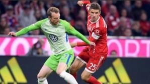 """Волсфбург шокира Байерн и върна два гола за равенство на """"Алианц Арена"""""""