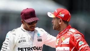 Хамилтън е благодарен за грешките на Фетел и Ферари