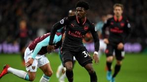 """Уест Хам - Арсенал 0:0, отменят гол на """"чуковете"""", гледайте тук"""