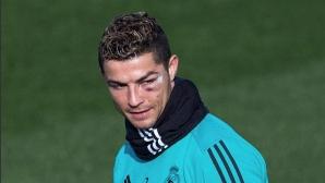 Кристиано тренира с насиненото око, но няма да играе (видео)