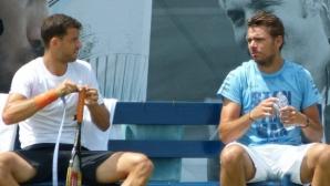 Григор Димитров тренира с Вавринка (видео + снимки)