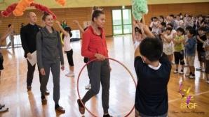 Две български гимнастички посетиха начално училище Тозала в град Мураяма