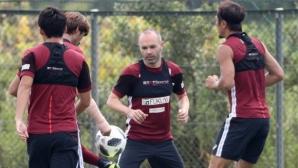 Иниеста вече тренира с новия си отбор
