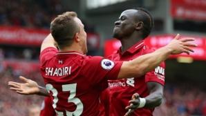 Ливърпул отказа Саутхамптън за едно полувреме за рекордната си седма поредна победа (видео)