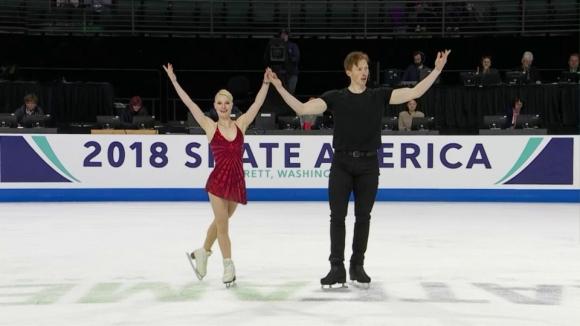 """Тарасова и Морозов поведоха след кратката програма при спортните двойки в """"Скейт Америка"""""""
