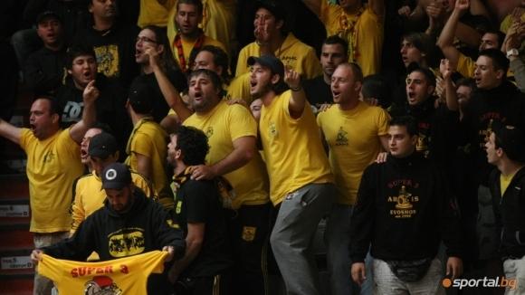 Солидна подкрепа за Арис срещу Левски Лукойл