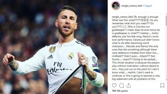 """Рамос """"хареса"""" публикация в Инстаграм, критикуваща съотборниците му в Реал"""