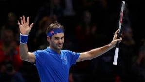 Федерер бил щастлив и свеж, очаква следващия си противник в Лондон
