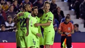 Леванте - Барселона 0:2, Меси с гол и асистенция, следете мача тук