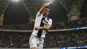 Роналдо щестлив от първия си трофей с Юве