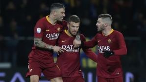 Рома издрапа до победата над Фрозиноне с късна драма
