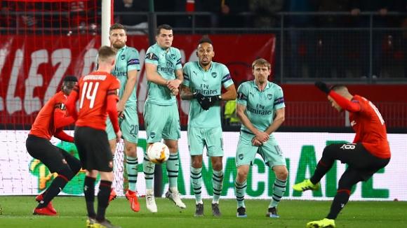 Арсенал се срина срещу Рен, тежък реванш очаква лондончани (видео)