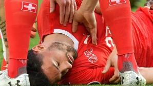 Травма в главата вади Фабиан Шер от мача на Швейцария с Дания