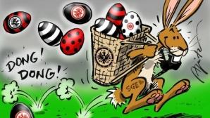 Феновете на Айнтрахт протестираха, хвърляйки великденски яйца