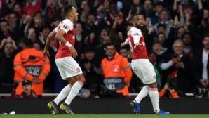 Арсенал забрави за загубите във Висшата лига и направи крачка към финала на Лига Европа (видео)